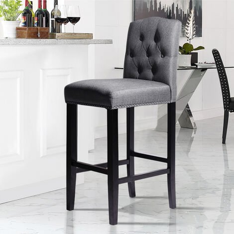 Grey Fabric Bar Breakfast Stools Pub Dining Chairs Padded Armchair High Wooden Leg