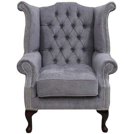 Grey Fabric Chesterfield High Back Chair Silver Studs | DesignerSofas4U