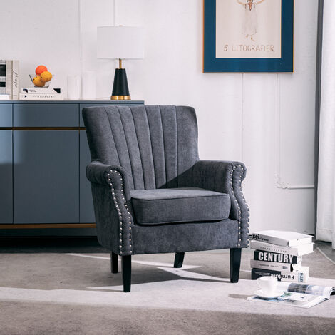 Grey Fabric Chesterfield Tub Chair Armchair