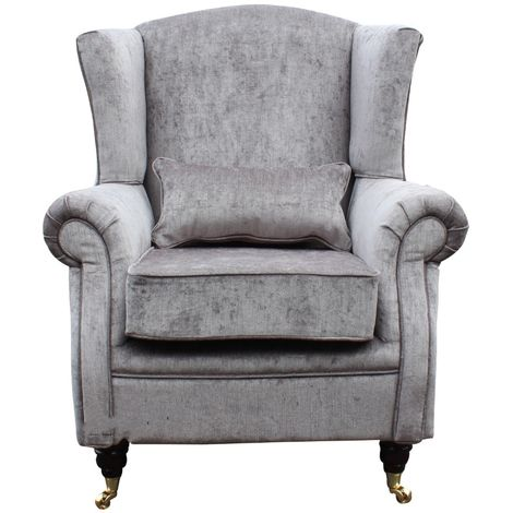 Grey Fabric Orthopedic High Back Wing Chair
