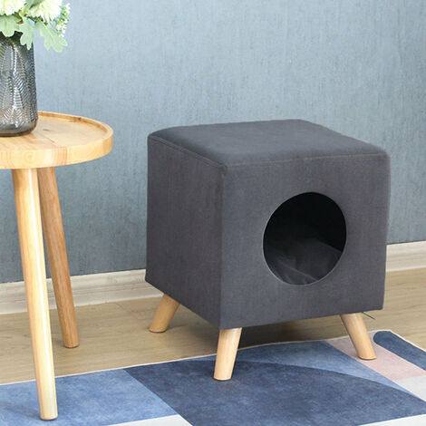 Grey Fabric Pet Nest House Stool Sofa Cradle Cat little Dog Home Kennel Sleeping Area
