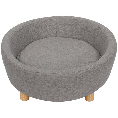 Grey Fabric Pet Sofa Dog Cat Couch Wooden Legs Luxury Sleeping Bed