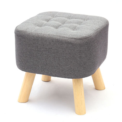 Grey Fabric Rest Stool Footstool Chair Ottoman Rest Padded Wooden Leg Stool