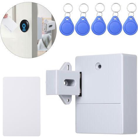 Grey & Five Key RFID Cabinet Hidden DIY Door Lock Electronic Cabinet Lock (Livre sans electricite)