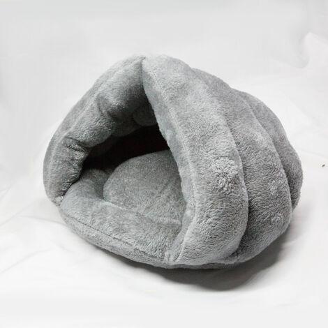 Grey Fleece Puppy Pet Cat Bed Basket Nest Sleeping House