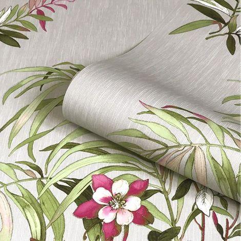 Grey Floral Glitter Wallpaper Green Pink Flowers Leaf Belgravia Decor Botanique