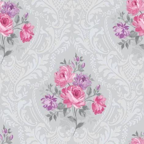 Grey Fuschia Flower Floral Damask Wallpaper Paste The Wall Brigitte Holden