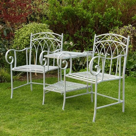 """main image of """"Grey Garden Bench Duo Love Seat Companion Chair Outdoor 2 Seater Ornate Design"""""""