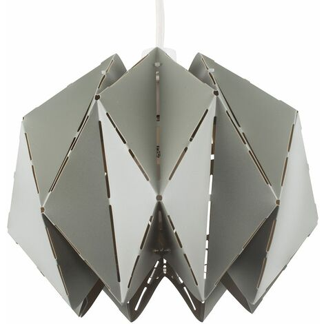 Grey Geometric Sphere Ceiling Pendant Light Shade + 15W LED Gls Bulb Warm White