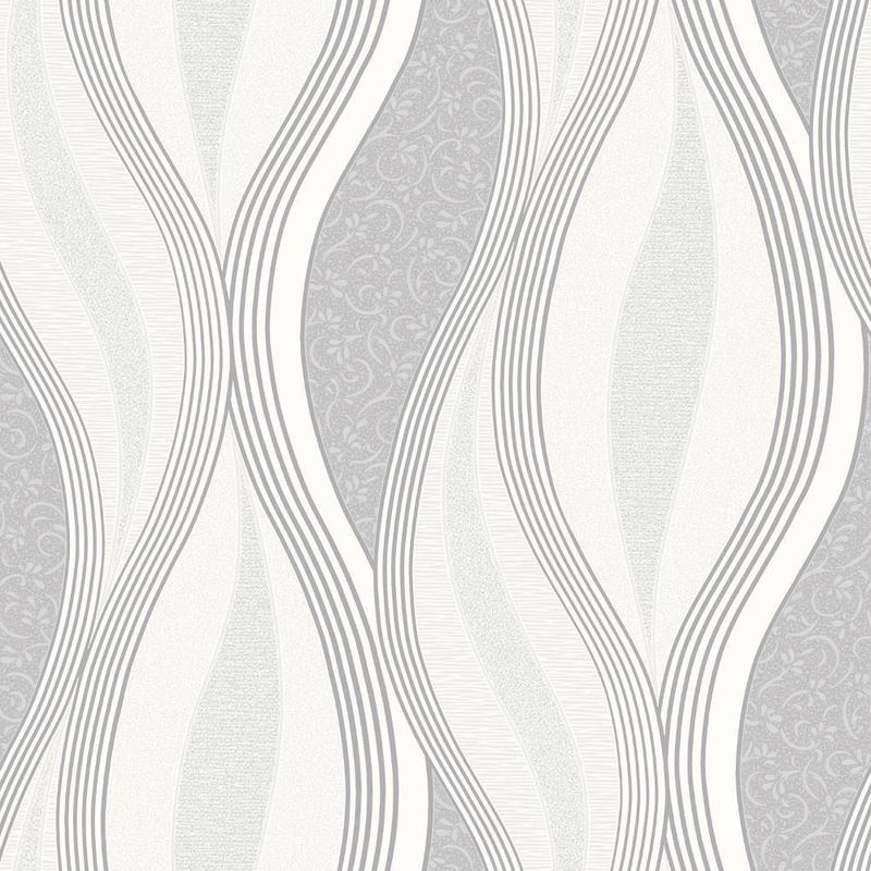 Image of Grey Glitter Waves Silver White Quality Textured Vinyl Feature Wallpaper