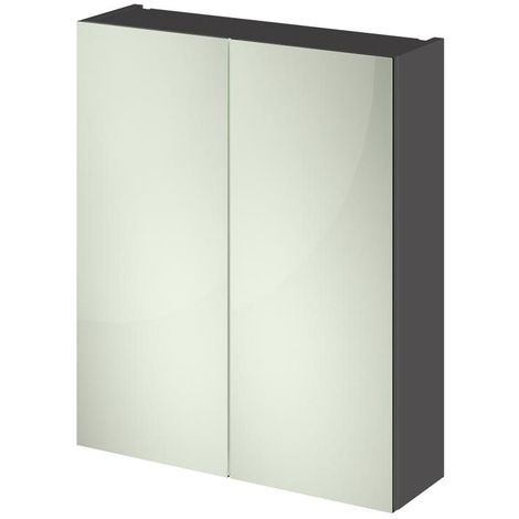 Grey Gloss 600mm Mirror Cabinet 50/50 Split (180mm Deep)