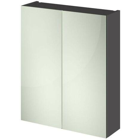 Grey Gloss 600mm Mirror Cabinet 50/50 Split (180mm Deep)