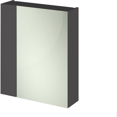Grey Gloss 600mm Mirror Cabinet 75/25 Split (180mm Deep)
