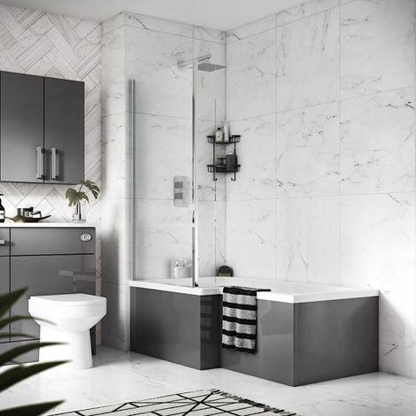 Grey Gloss 700mm Square Shower Bath End Panel