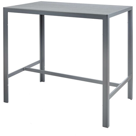 "main image of ""Grey High Outdoor Bar Table Durable Garden Patio Furniture Metal Frame Polywood"""