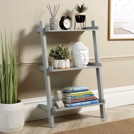 """main image of """"Grey Ladder Shelving Unit 3 Tier Display Stand Book Shelf Wall Rack Storage"""""""
