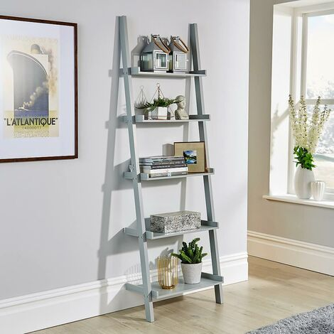 """main image of """"Grey Ladder Shelving Unit 5 Tier Display Stand Book Shelf Wall Rack Storage"""""""