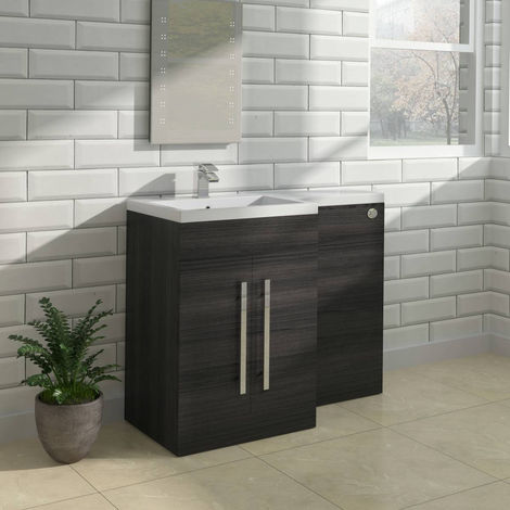 Grey Left Hand Bathroom Furniture Combination Vanity Sink Unit Set (No Toilet)