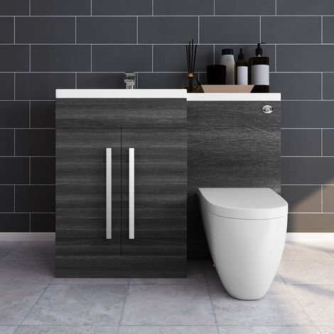 Grey Left Hand Combination Modern Wash Stands Vanity Sink Unit Set with Toilet