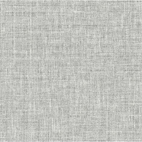 Grey Linen Effect Wallpaper Textured Heavy Weight Vinyl Paste The Wall