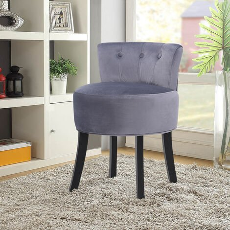 """main image of """"Makeup Vanity Chair Fabric Padded Seat Dressing Table Stool Wooden Leg"""""""