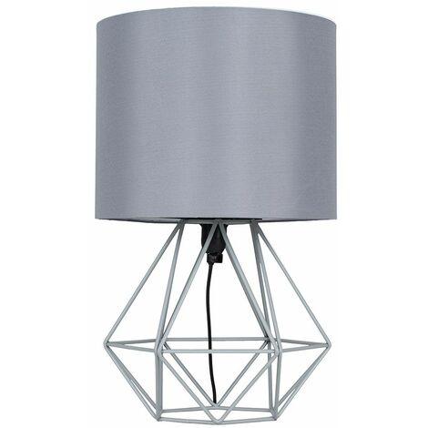 Grey Metal Basket Cage Table Lamp + Grey Fabric Shade