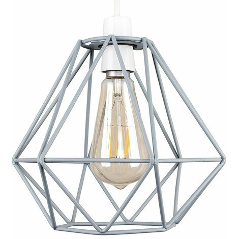 Grey Metal Ceiling Pendant Light Shade + 4W LED Filament Bulb - Warm White - Grey