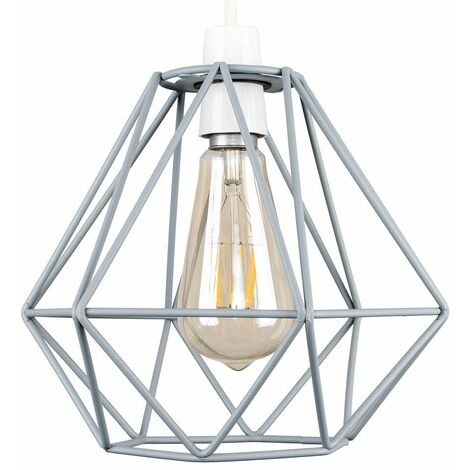 Grey Metal Ceiling Pendant Light Shade - 4W LED Filament Bulb Warm White - Grey