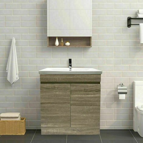 Grey Oak Bathroom Vanity Sink Unit Basin Storage Cabinet Floor Standing Furniture 800mm