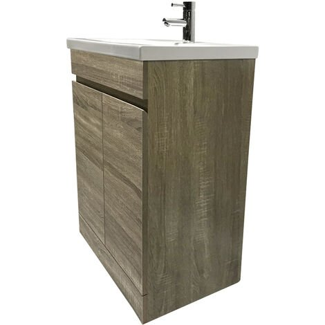 Grey Oak Bathroom Vanity Sink Unit Basin Storage Cabinet Floor Standing Furniture 800mm