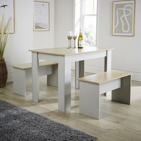 """main image of """"Grey Oak Dining Set Table with 2 Benches to Seat 4 Two Tone Kitchen Set"""""""