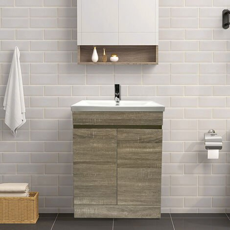 Grey Oak Effect Bathroom Vanity Sink Unit Basin Storage Cabinet Floor Standing Furniture 600mm