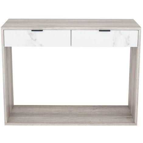Grey Oak & Marble Wood Veneer Console Table K/D