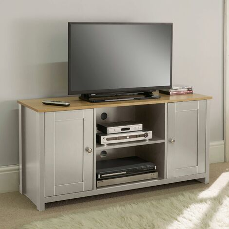 """main image of """"Grey Oak TV Stand Two Tone 2 Door Cabinet Television Unit Open Shelf Cable Tidy"""""""