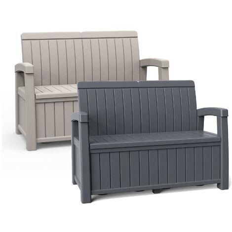 Grey Outdoor 2-Seater Garden Storage Bench Cushion Box Chest Trunk Patio Seating