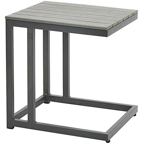 Grey Outdoor Coffee Side Table Polywood Garden Patio Furniture Metal Frame