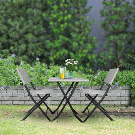 "main image of ""Grey Outdoor Rattan Garden Bistro Sets"""