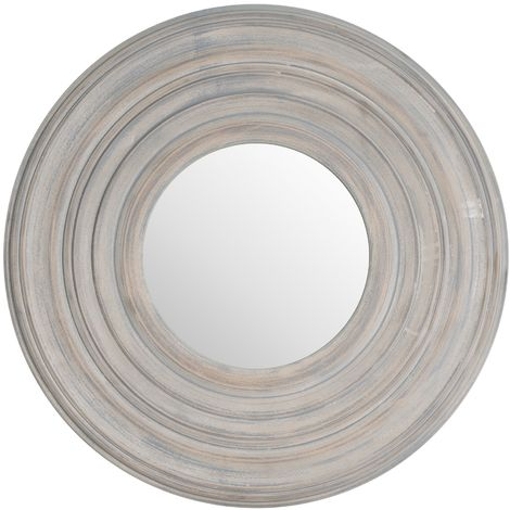 Grey Painted Round Textured Mirror (One Size) (Grey)