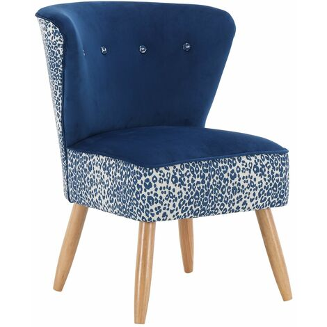 Grey Patterned Velvet Upholstered Nyami Accent Chair, W64xD69xH83 cm - Grey