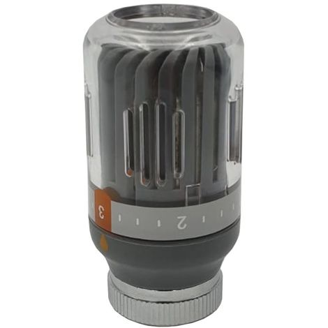 Grey Radiator Thermostatic Valve Head M30x1,5 Crystal Colour 8-30C Temperature
