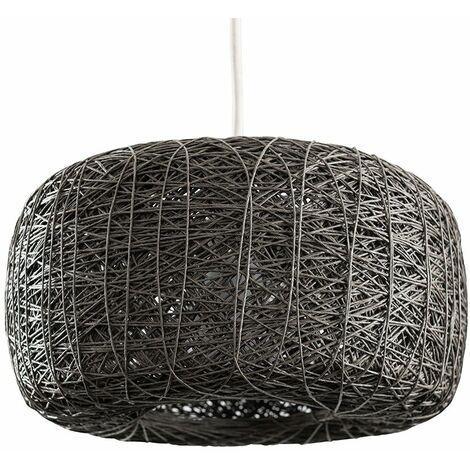 Grey Rattan Ceiling Light Shade Easy Fit Doughnut - No Bulb - Grey