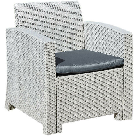 Grey Rattan Effect Armchair with Cushion - Outdoor Patio Garden Furniture