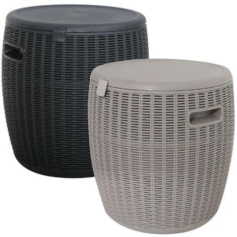 "main image of ""Grey Rattan Effect Ice Cooler Bucket Outdoor Garden Patio Side Table Seat Box"""