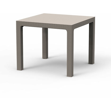 Grey Rattan Effect Square 4-Seater Outdoor Dining Table Garden Patio Furniture