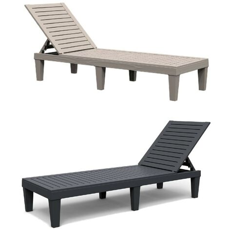 """main image of """"Grey Resin Recliner Sun Lounger Day Bed Chair Outdoor Garden Patio Furniture"""""""