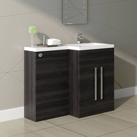 Grey Right Hand Bathroom Furniture Combination Vanity Sink Unit Set (No Toilet)