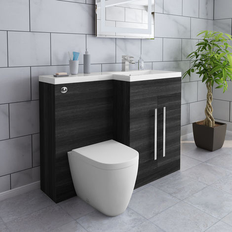 Grey Right Hand Combination Modern Wash Stands Vanity Sink Unit Set with Toilet