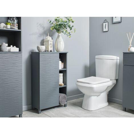 Grey Ripple Bathroom Console Storage Unit Cabinet