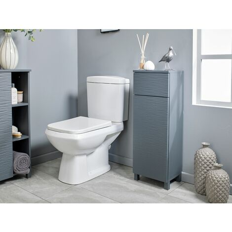 Grey Ripple Bathroom Floor Cabinet Storage Unit