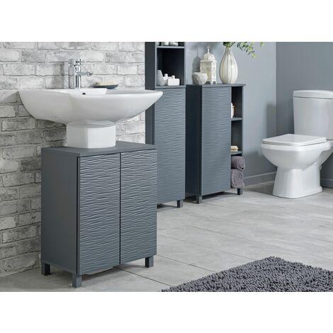 "main image of ""Grey Ripple Bathroom Underbasin Storage Unit - Grey"""